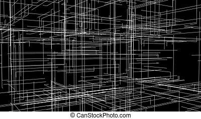 astratto, linee, grata, forma, livelli, 3d