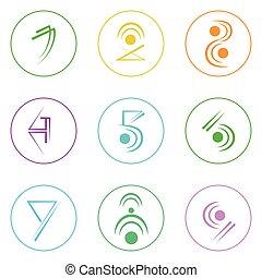 astratto, logotipo, icone, set, linea sottile, semplice, colorito, collezione, minimalistic, stile