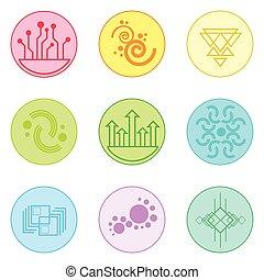astratto, logotipo, icone, set, linea sottile, semplice, colorito, collezione