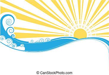 astratto, mare, waves., vettore, illustrazione, di, mare, paesaggio