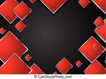 astratto, metallico, geometrico, squadre, cornice, rosso