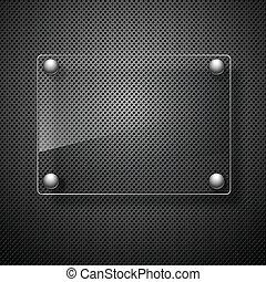 astratto, metallo, fondo, con, vetro, framework., vettore,...
