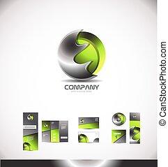 astratto, metallo, sfera, verde, logotipo, 3d