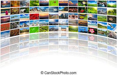 astratto, multimedia, fondo, composto, di, molti, immagini,...