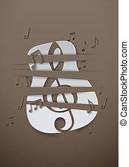 astratto, musica, fondo, con, carta in fogli, chitarra, e, note musica