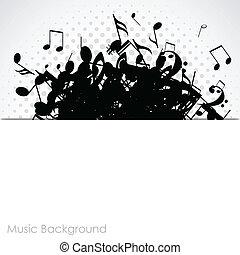 astratto, musica, fondo, con, note, vettore