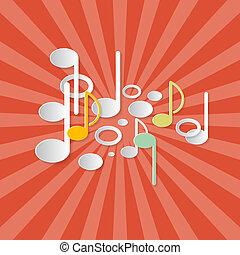 astratto, musica, retro, sfondo rosso, con, note, fatto, da, carta