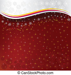 astratto, natale, sfondo rosso, fiocchi neve, con, stelle
