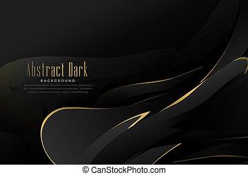 astratto, nero, oro, fondo