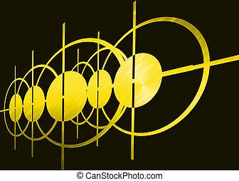 astratto, nero, sfondo giallo