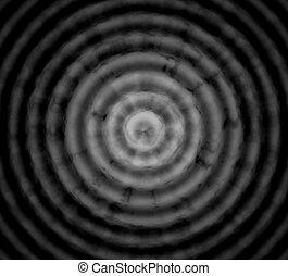astratto, nero, sfondo grigio, con, cerchi concentrici