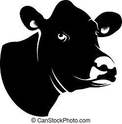 astratto, nero, testa, mucca