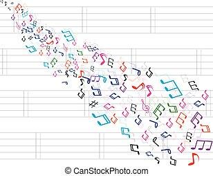 astratto, note musica, fondo