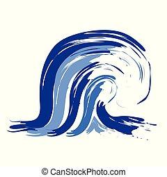 astratto, oceano blu, onda, logotipo