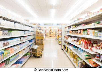 astratto, offuscamento, e, defocused, supermercato, e, negozio convenienza, interno