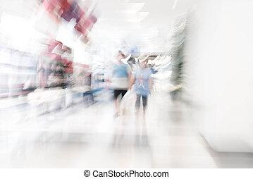 astratto, offuscamento, persone, bello, lusso, centro commerciale, centro, e, negozio, vendita dettaglio