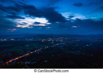astratto, offuscamento, vista aerea, di, notte, piccola città