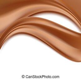 astratto, onde, illustrazione, cioccolato, vettore, white., fondo, fluente