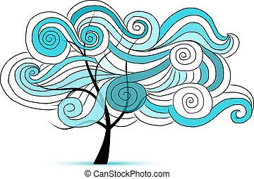 astratto, ondulato, albero, per, tuo, disegno