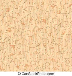 astratto, ornamento, seamless, legno, intagliato, floreale