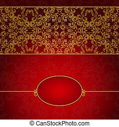 astratto, oro, e, rosso, invito, cornice