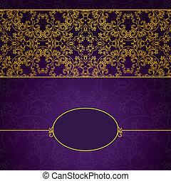 astratto, oro, e, viola, invito, cornice
