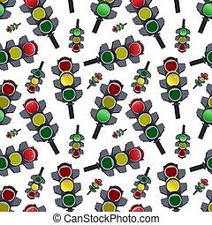 astratto, pattern., seamless, illustrazione, luci, vettore, traffico, fondo, bianco