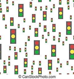 astratto, pattern., seamless, luci, vettore, traffico, fondo, bianco