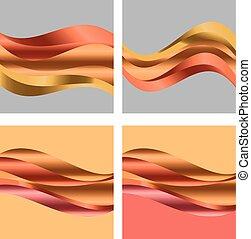 astratto, pendenza, onda, fondo, per, web, e, print., vettore, illustrazione, per, superficie, design., fluent, caduta acqua, colore arancia, element.