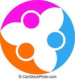 astratto, persone, cooperation., vettore, logotipo, disegno, template., concetto, per, lavoro squadra, addestramento, affari, associazione, sport, squadra, organizzazione