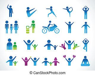 astratto, persone, multiplo, icona