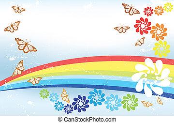 astratto, primavera, fondo, con, arcobaleno, farfalle, e, fantasia, fiori, -, illustrazione
