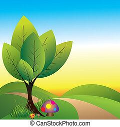 astratto, primavera, wonderland, con, albero, e, fungo