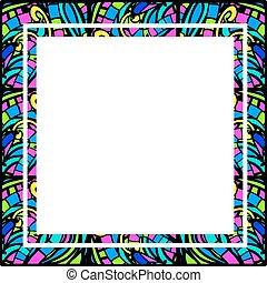 astratto, quadrato, cornice, macchi-vetro