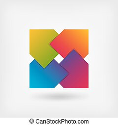 astratto, quadrato, simbolo, in, colori arcobaleno