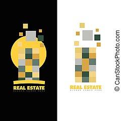 astratto, reale, logotipo, grattacielo, proprietà
