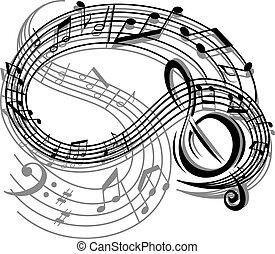 astratto, retro, musica, fondo