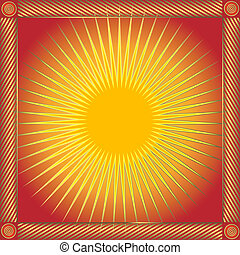 astratto, rosso, cornice, con, sole, (vector)
