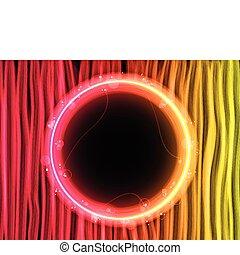 astratto, rosso, linee, fondo, con, cerchio nero