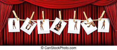astratto, rosso, teatro, palcoscenico, drappo, fondo, con, sexy, polaroids, di, uno, caldo, femmina