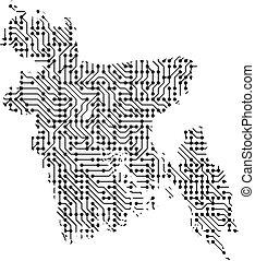 astratto, schematico, mappa, di, bangladesh, da, il, nero, stampato, asse, scheggia, e, radio, component., computer, elettronica, processore, motherboard., vettore, illustration.