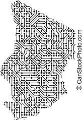 astratto, schematico, mappa, di, chad, da, il, nero, stampato, asse, scheggia, e, radio, component., computer, elettronica, processore, motherboard., vettore, illustration.