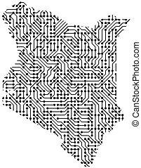 astratto, schematico, mappa, di, kenia, da, il, nero, stampato, asse, scheggia, e, radio, component., computer, elettronica, processore, motherboard., vettore, illustration.