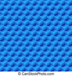 astratto, seamless, blu, cubo, fondo.