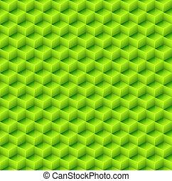 astratto, seamless, cubo verde, fondo.