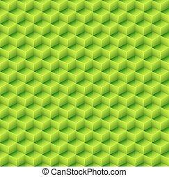 astratto, seamless, cubo verde, fondo., vettore