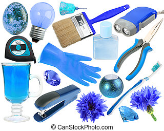 astratto, set, di, blu, oggetti