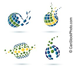 astratto, set, globo, icone