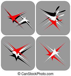 astratto, set., icone