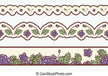 astratto, set, roses., profili di fodera